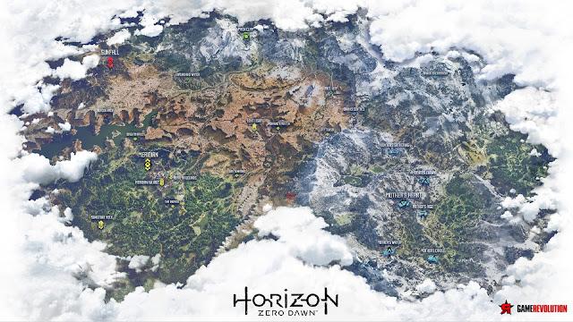Vaza o enorme mapa de Horizon: Zero Dawn.