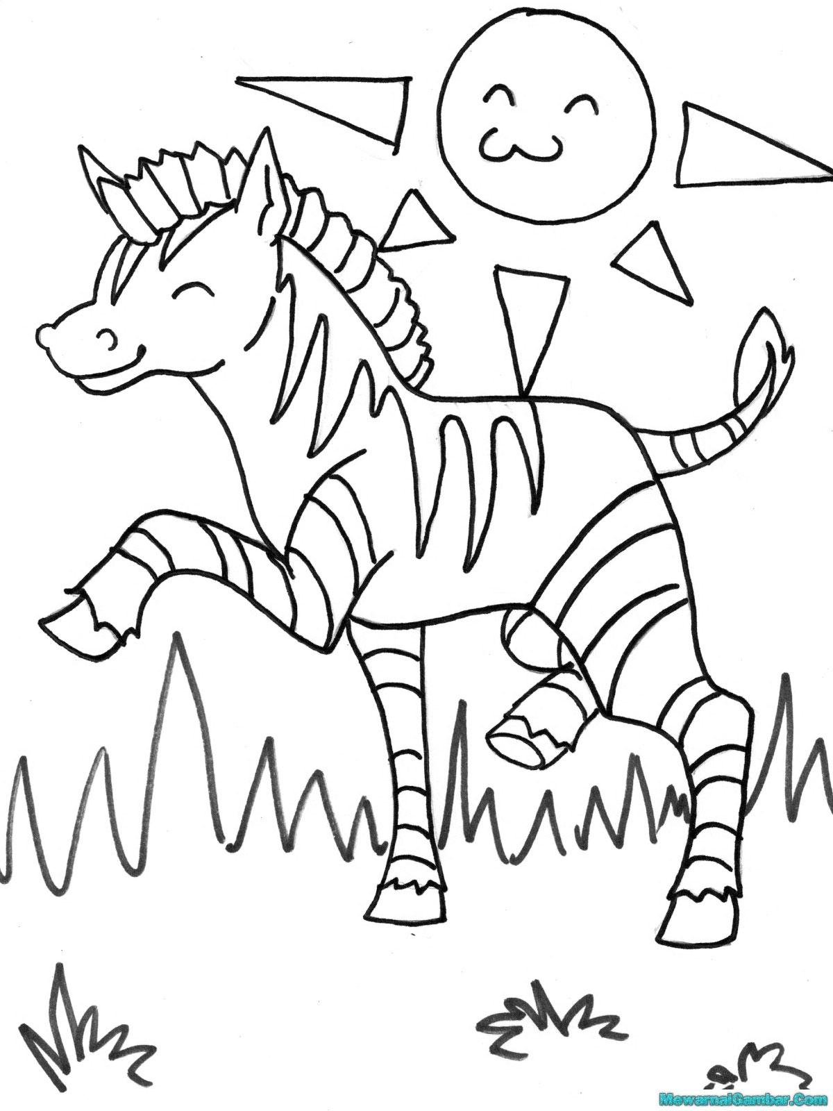 Buku Mewarnai 20 Gambar Zebra