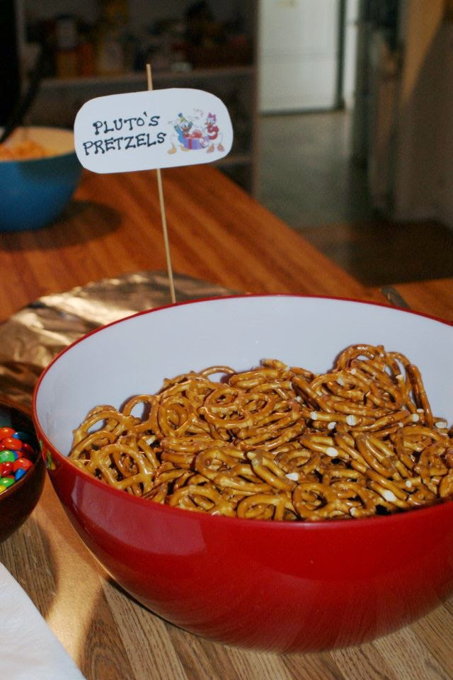 Pluto's Pretzels for a Mickey Mouse themed birthday party!