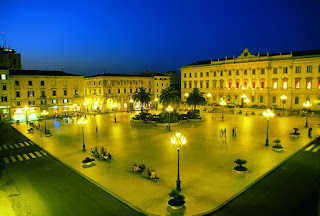 Sassari's elegant Piazza d'Italia lit up by night