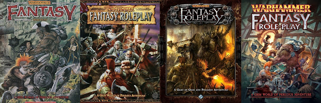 Warhammer Fantasy Roleplay Covers 1st to 4th editions