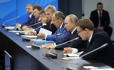 Russian President at the meeting with Khaltmaagiin Battulga in Vladivostok.