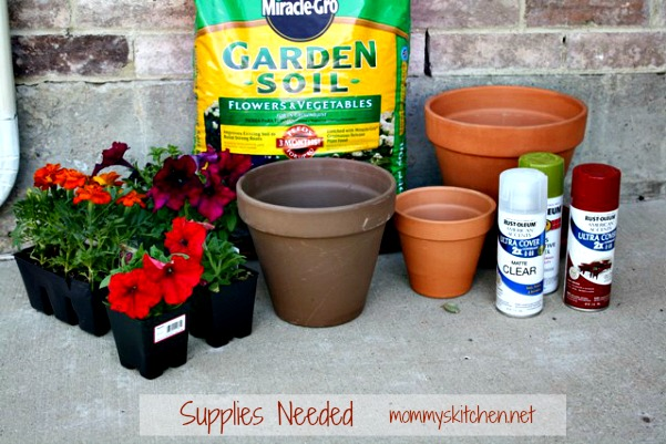 Mommy S Kitchen Recipes From My Texas Diy Terra Cotta Tiered Planter With Rust Oleum Paint