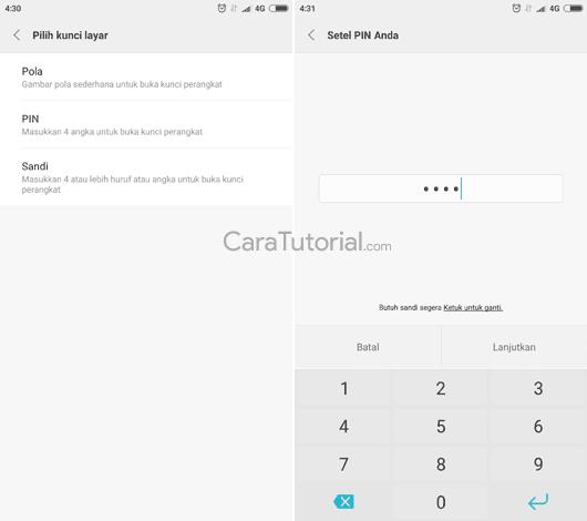 Mengatur kunci layar PIN, pola atau sandi android