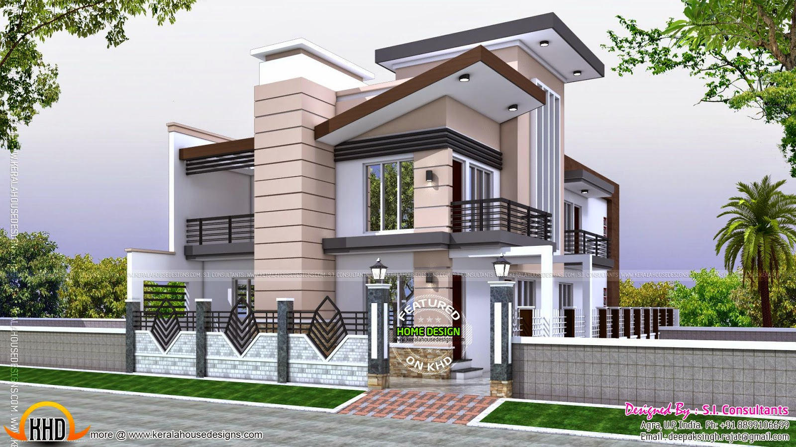 Indian home modern style kerala home design and floor plans for Indian homes front design