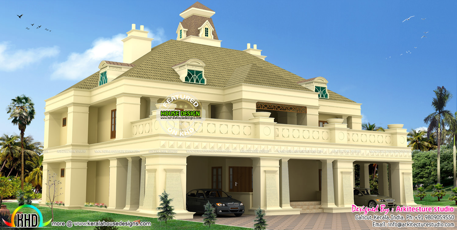 Colonial villa in 600 square meter kerala home design for 500 square meters house design