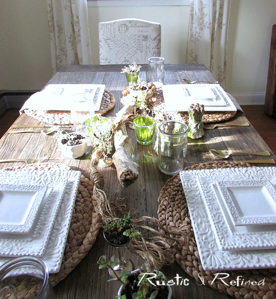 Creative and rustic table setting for summer