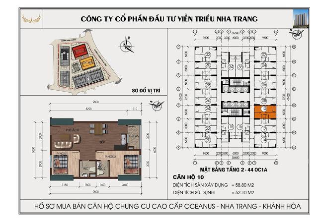 Sơ đồ căn hộ số 10 tòa OC1A Viễn Triều Nha Trang