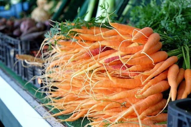 Auf einem Marktstand, Nahaufnahme von mehreren Karotten im Bund