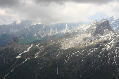 View from Rifugio Lagazuio toward Cinque Torre.