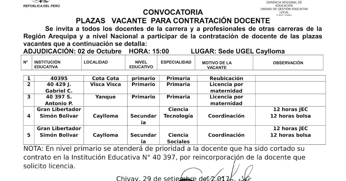 Convocatoria docente 02 octubre 2017 ugel caylloma for Convocatoria docente 2016