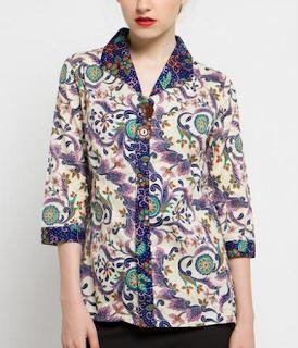Model Baju Batik atasan Wanita lengan pendek