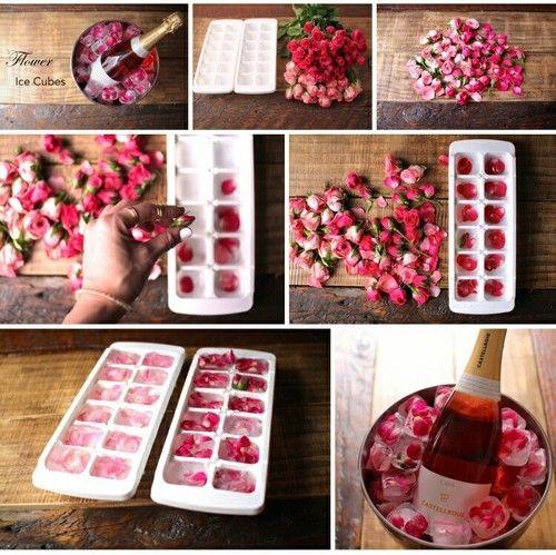 diy cubitos de hielo con flores para brindis san valentin cena 14 de febrero facil y low cost