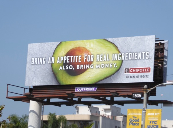 Chipotle Bring appetite real ingredients billboard