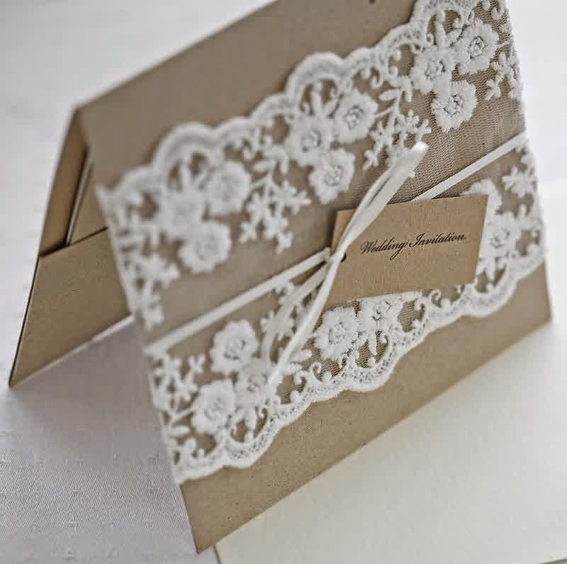 Wedding Invitations With Lace: Burlap And Lace Wedding Invitation Ideas