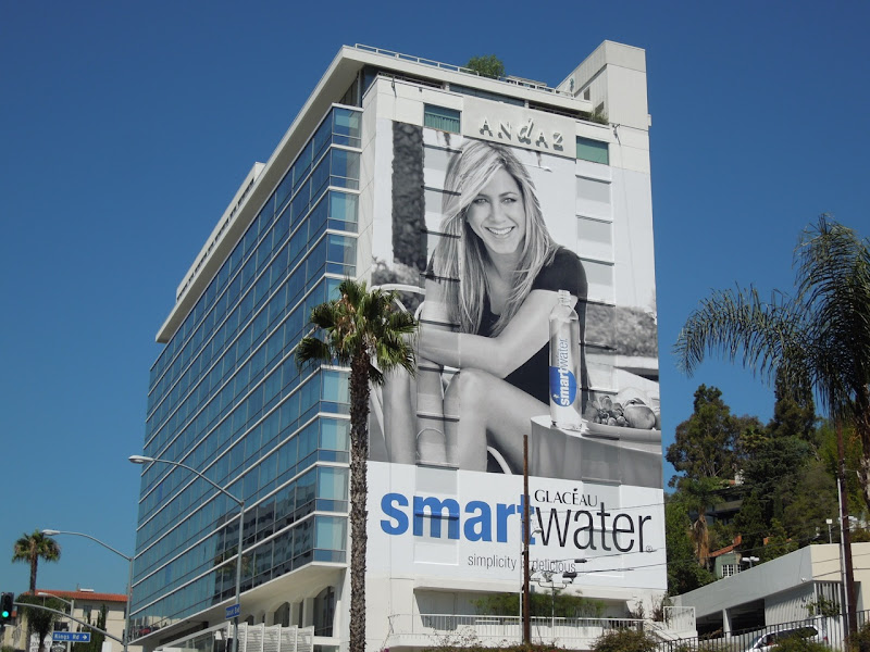 Giant Jennifer Aniston Smart Water billboard 2012
