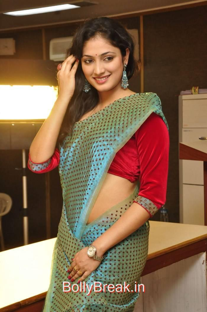 Haripriya Unseen Stills, Haripriya Hot HD Images in Teal Green Colour Saree
