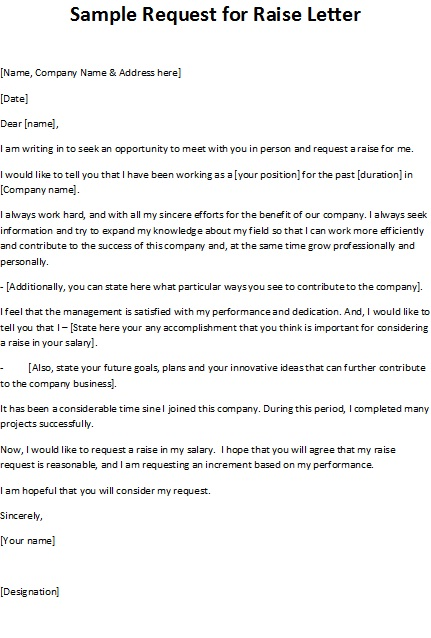Sample Letter Asking Boss For A Raise – Raise Letter Template