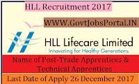 HLL Lifecare Limited Recruitment 2017– 18 Trade Apprentices & Technical Apprentices