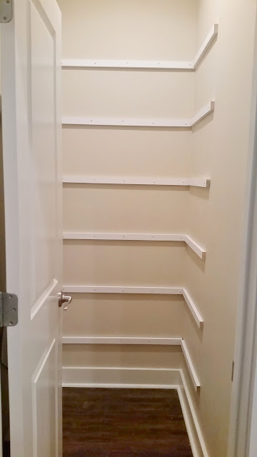 shelf supports installed for pantry makeover