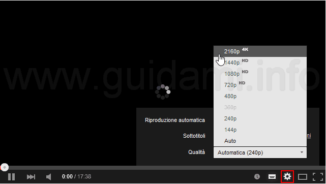 Player YouTube attivare qualità 4K
