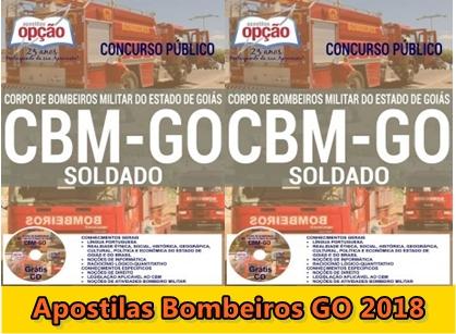 Apostilas do CBMGO - Soldado Praças combatentes e músicos concursos Bombeiros GO 2018