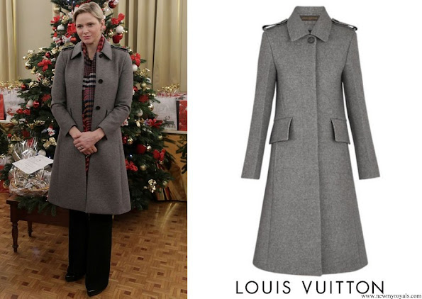 Princess Charlene wore a LOUIS VUITTON Wool Grey Coat