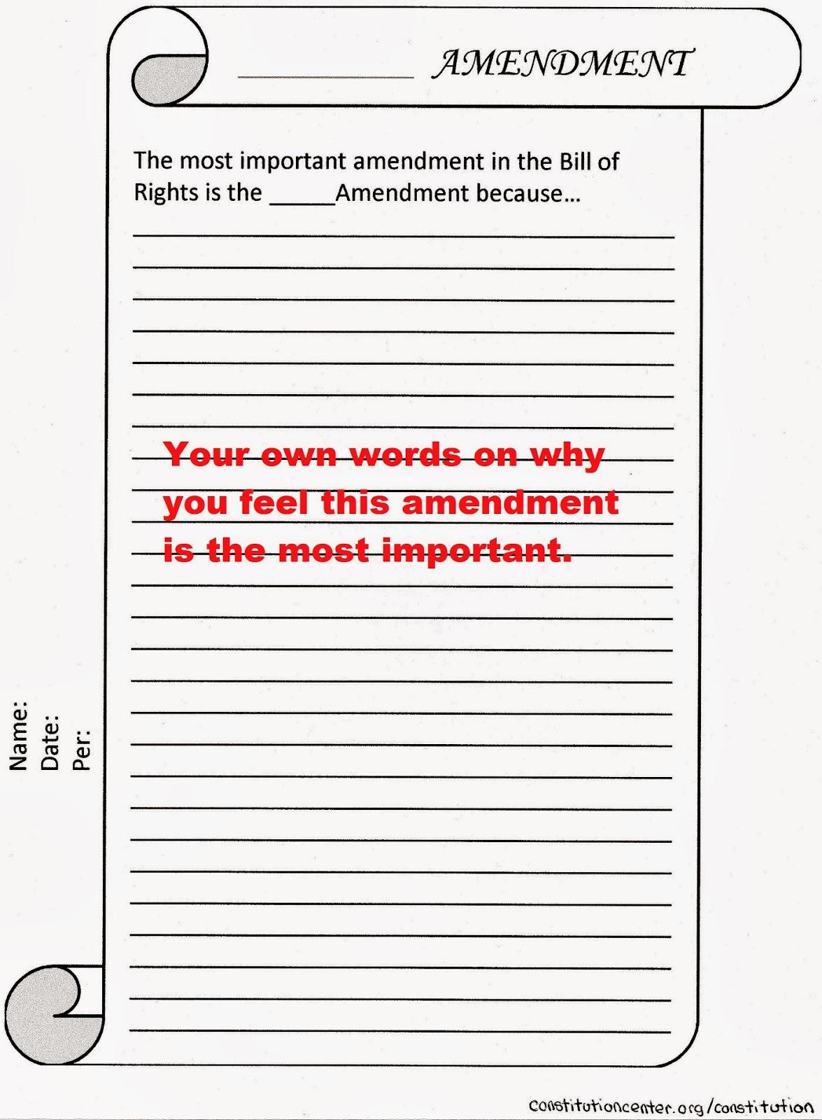 Mr Bravo S Pod Blog 1 2 Amendment Worksheet