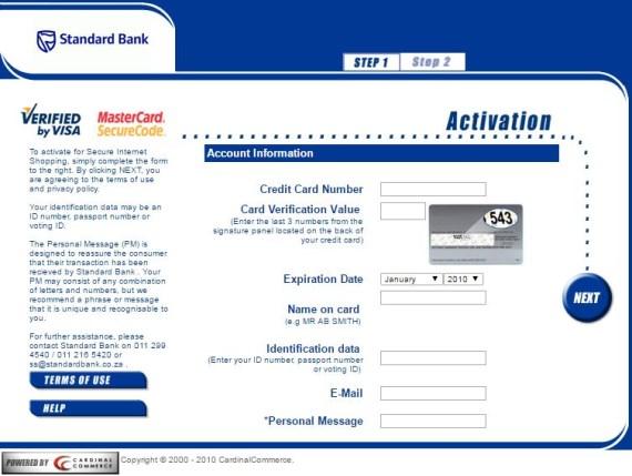 Hollywoodbets Sports Blog: Standard Bank - 3D Secure - Credit Card