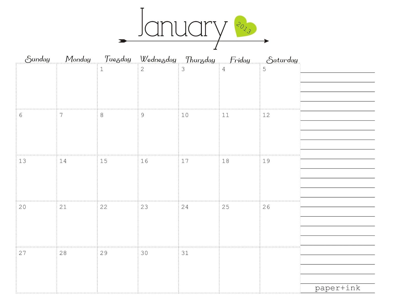 Free Printable Calendars: January 2013