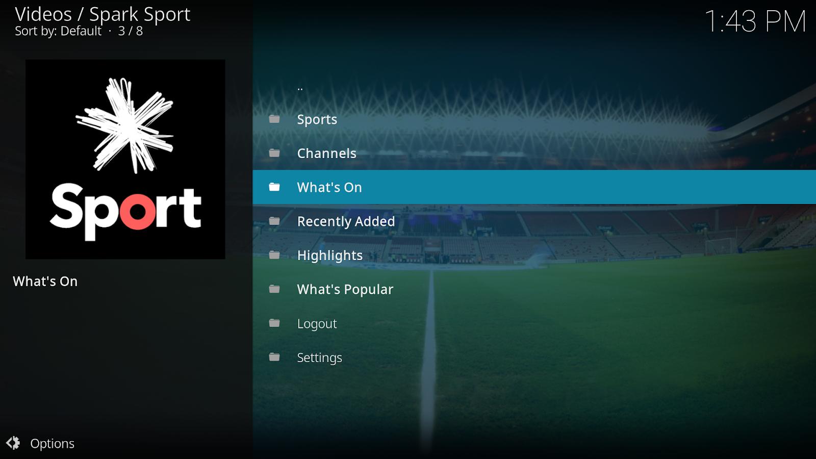 Spark Sport Kodi Add On