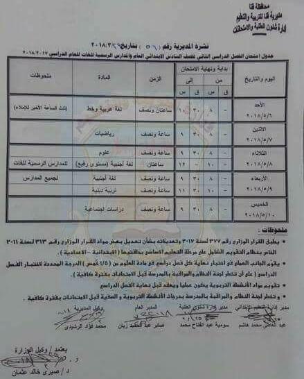 جدول امتحانات الصف السادس الابتدائي 2018 الترم الثاني محافظة قنا