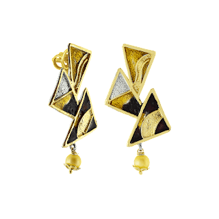Abstract earrings curated in sterling silver and finished in futuristic multi-tones by Izaara