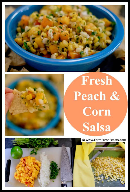 A fresh salsa perfect for summer snacking! Fresh corn and peaches tossed with spicy cilantro-lime  mix uses the best of summer produce. Got your chips ready?