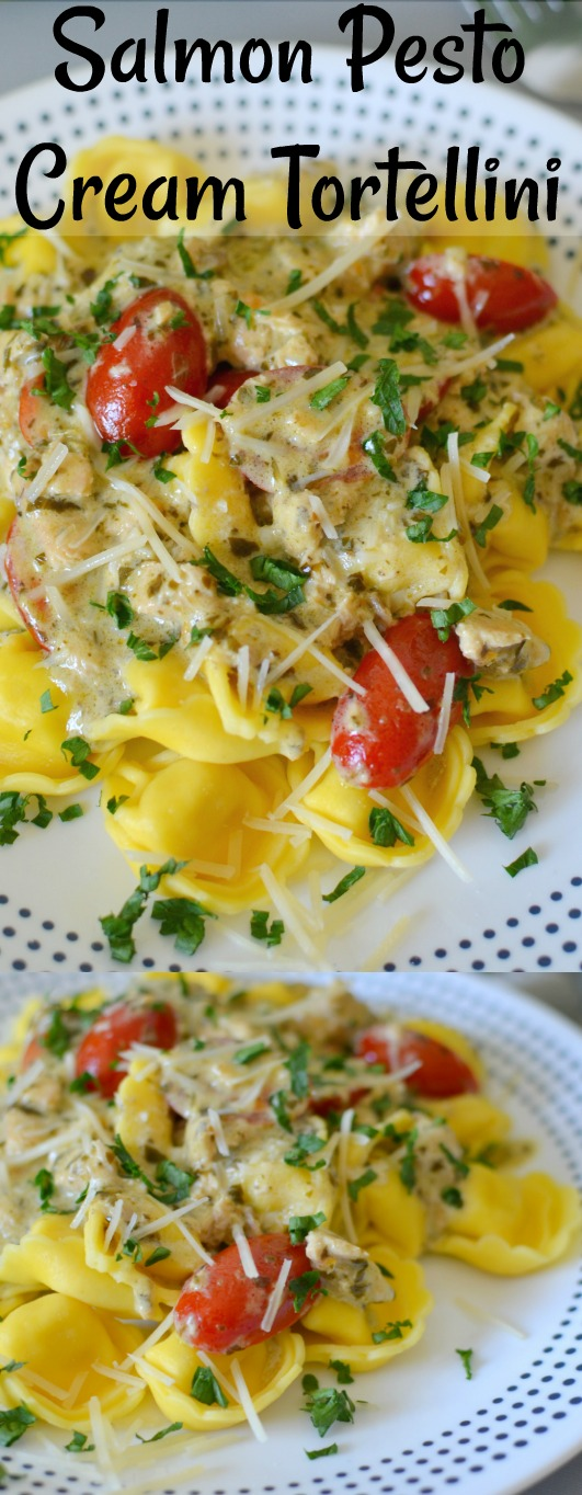 Salmon Pesto Cream Tortellini Recipe from Hot Eats and Cool Reads! Dinner is ready in less than 20 minutes with this creamy and cheesy pasta recipe! The flavors come from lemon zest, tomatoes and delicious parmesan cheese! This is sure to be a new favorite comfort food!