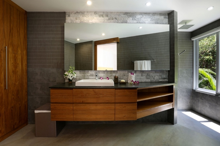 Wooden bathroom furniture in Modern Villa Beyond in Phuket