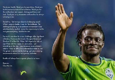 Obafemi Martins Thanks Teammates, Coaches As He Waves Seattle Sounders FC Bye