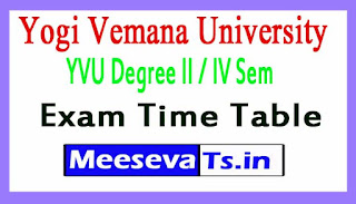 Yogi Vemana University YVU Degree II / IV Sem Exam Time Table 2017