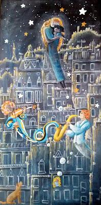 Annapia Sogliani https://www.latelierdannapia.com/ Sognando musicisti  violino sax cane maternità  stelle bolle quadro acrilico su tela, onirico poetico surrealista rêve maternité étoiles saxophone musique paris tour eiffel chagall