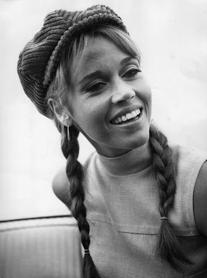 Jane Fonda in pigtail braids on Hello Lovely Studio