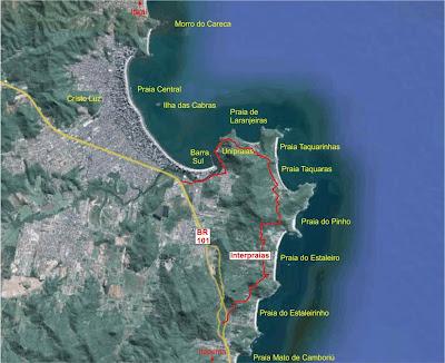 Mapa de localização das praias de Camburiú