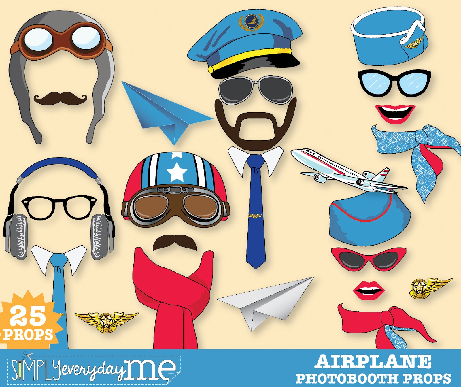 35 Pilot Party Props Airplane Party Diy Printable Photo Booth: SimplyEverydayMe: Retro Airplane Party Photo Booth Prop