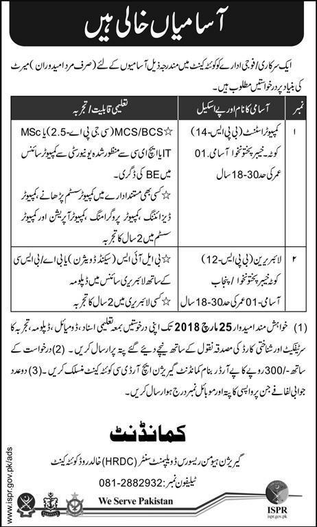 Jobs In Pakistan Army HRDS March 2018 Human Resource Development Center