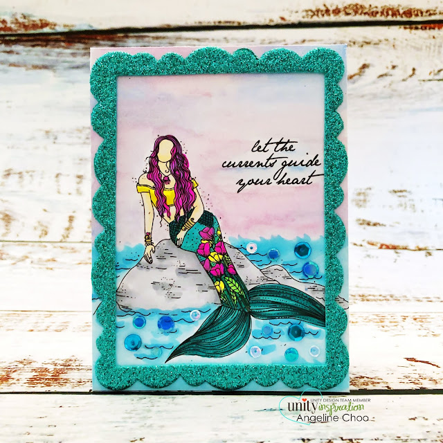 ScrappyScrappy: Mer-mazing #scrappyscrappy #unitystampco #card #cardmaking #averyelle #copicmarkers #metallicwatercolors #wonkyscallopedframe #glitterfoam #mermazing #mermaid #stamping #unitystampsequins #sequins