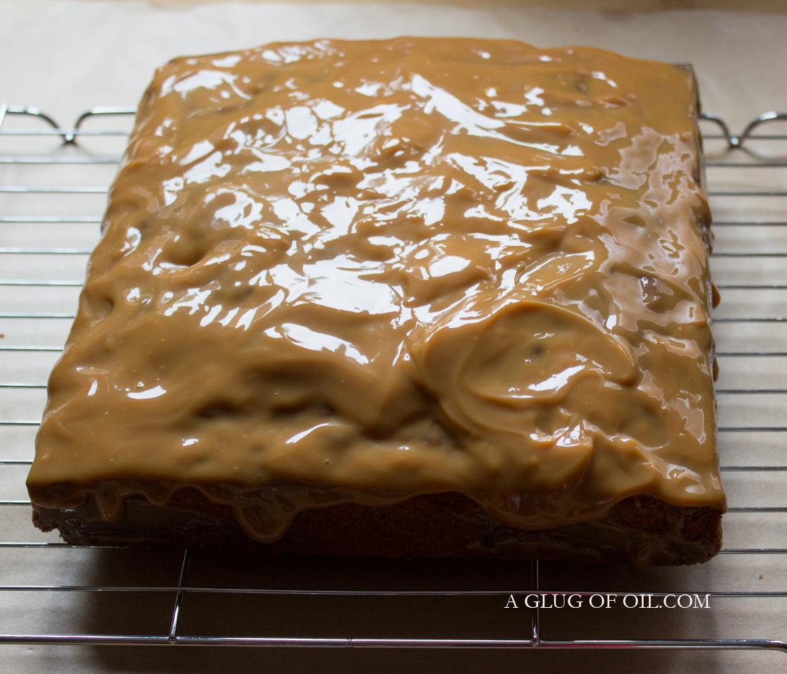 Caramel on a cake