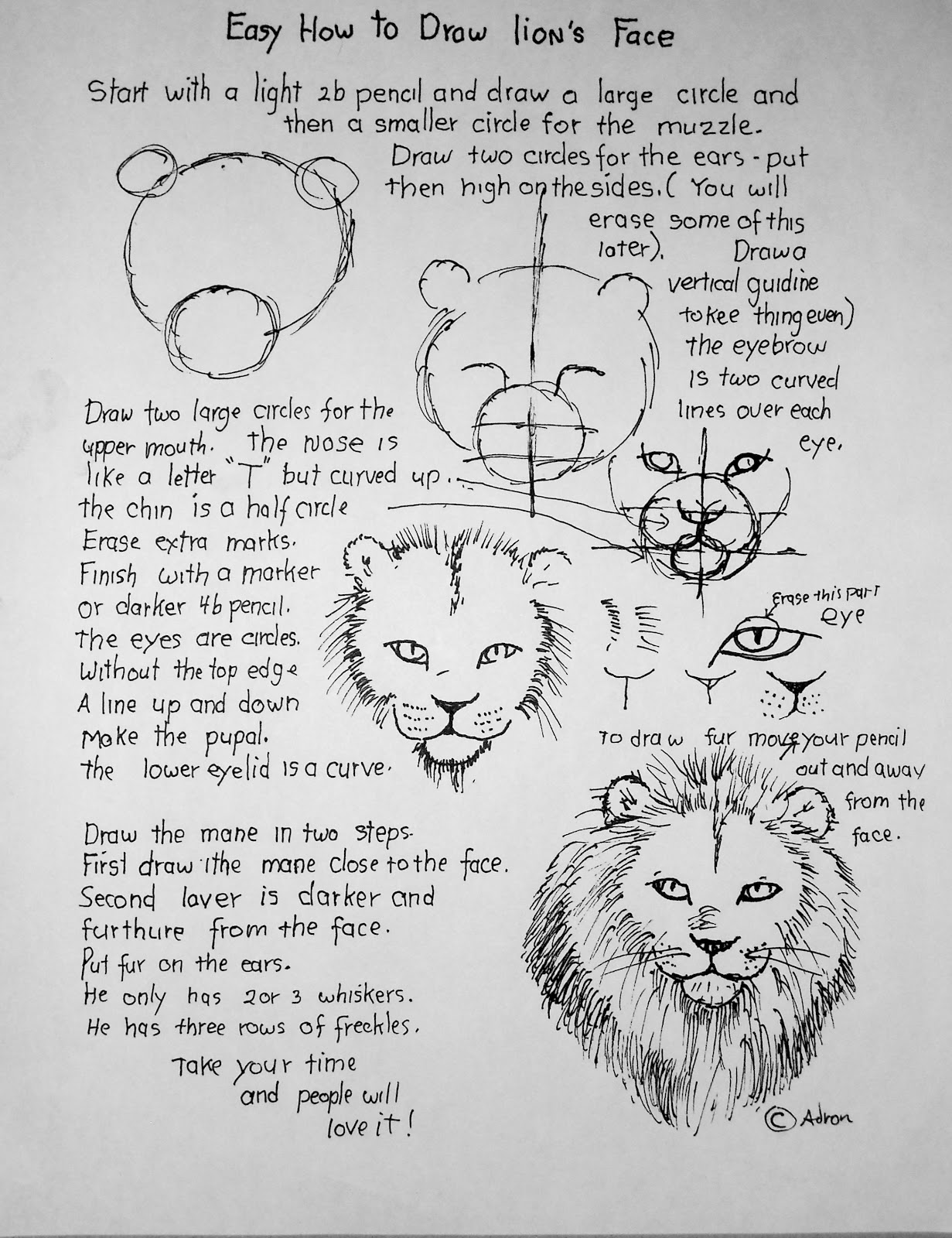 How To Draw Worksheets For The Young Artist How To Draw A Lion S Face Easy Lesson And Worksheet