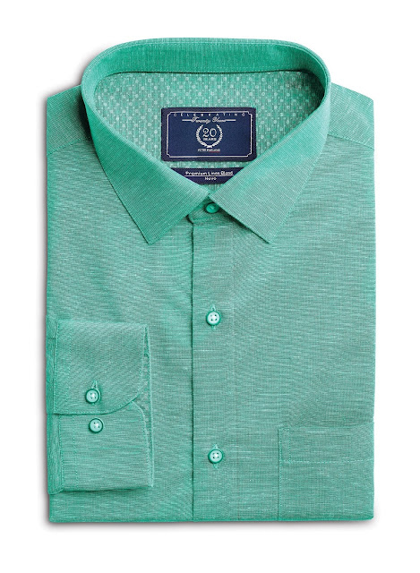 Aqua Green Shirt from Forma-Linens collection by Peter Englnd_Rs. 1599