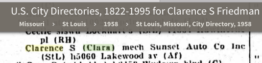 clarence friedman and clara friedman in 1958 st louis city directory