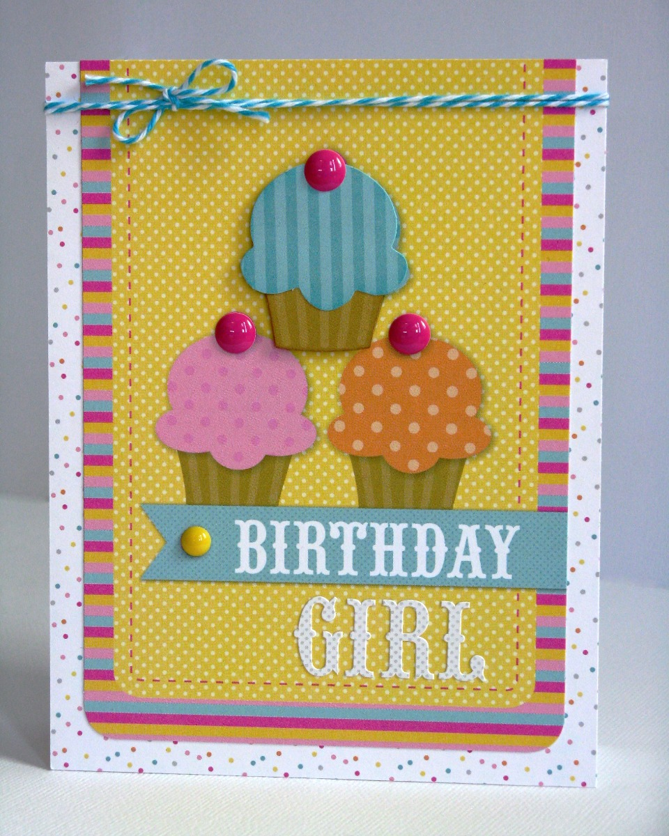 Doodlebug Design Inc. Sugar Shoppe Birthday Girl Cupcake Card for Kids & Teens by Mendi Yoshikawa