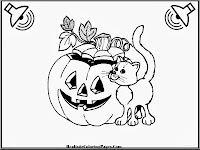 Cat And Pumpkins Kids Halloween Coloring Pages